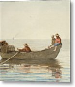 Three Boys In A Dory With Lobster Pots  Metal Print