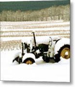 Tractor In Snowy Vineyard Metal Print