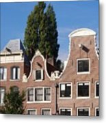 Traditional Canal Houses In Amsterdam. Netherlands. Europe Metal Print