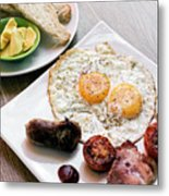Traditional English British Fried Breakfast With Eggs Bacon And  Metal Print