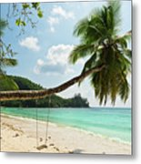 Tropical Beach At Mahe Island Seychelles Metal Print