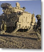 U.s. Army Soldiers Provide Security Metal Print
