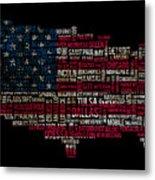 Usa Main Cities Flag Map Metal Print by Cedric Darrigrand