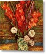 Vase With Red Gladioli  Metal Print