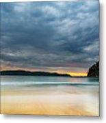 Vibrant Cloudy Sunrise Seascape Metal Print
