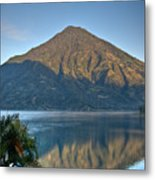 Volcano And Reflection Lake Atitlan Guatemala Metal Print