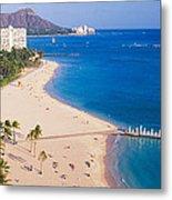 Waikiki Beach And Diamond Head Metal Print