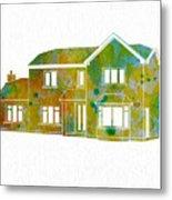 Watercolor House Metal Print