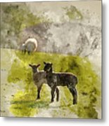 Watercolor Painting Of Beauitful Landscape Image Of Newborn Spri Metal Print