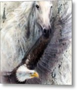 White Horse With A Flying Eagle Beautiful Painting Illustration Metal Print