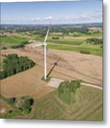 Wind Turbines In Suwalki. Poland. View From Above. Summer Time. Metal Print