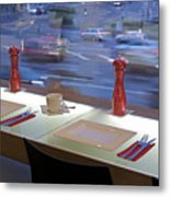 Window Seating In An Upscale Cafe Metal Print