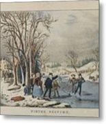 Winter Pastime Metal Print