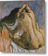 Woman Combing Her Hair Metal Print