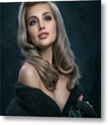 Woman In Big Curls Hollywood Glam Look Metal Print