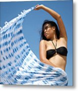 Woman In Sarong Metal Print