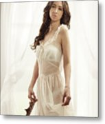 Woman In Vintage Negligee Metal Print
