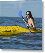 Woman Kayaking Metal Print