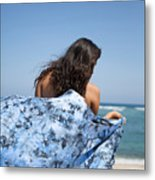 Woman On Beach Metal Print