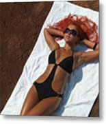 Woman Sunbathing Metal Print