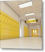 Yellow School Lockers Light Metal Print