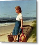 Young Girl At The Seashore Metal Print
