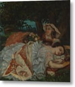 Young Ladies On The Bank Of The Seine Metal Print