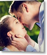 Young Romantic Couple Kissing With Love In Summer Park Metal Print