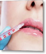 Young Woman Having Botox Face Injections. Metal Print