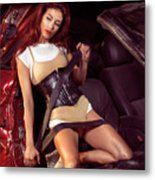 Young Woman In A Crashed Car Metal Print