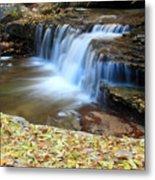 Zion Autumn Foliage Waterfall Metal Print