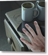 Bedside Table And Cellphone Metal Print