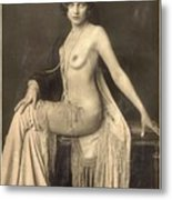 Digital Ode To Vintage Nude By Mb Metal Print
