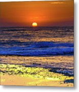 Sunrise Seascape And Rock Platform Metal Print