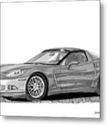 Corvette Roadster, Silver Ghost Metal Print