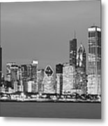 2010 Chicago Skyline Black And White Metal Print by Donald Schwartz