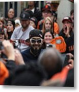 2012 San Francisco Giants World Series Champions Parade - Sergio Romo - Dpp0007 Metal Print by Wingsdomain Art and Photography