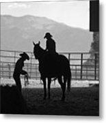 201208107-047k Cowgirls Preparing To Ride 2x3 Metal Print
