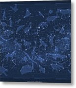 2017 Pi Day Star Chart Carree Projection Metal Print