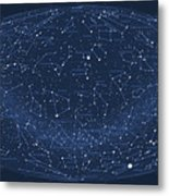 2017 Pi Day Star Chart Hammer/aitoff Projection Metal Print