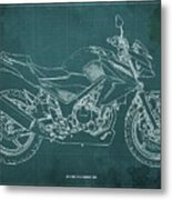 2018 Honda Cb300f Abs Blueprint Green Background Metal Print