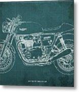 2018 Triumph Thruxton 1200 Blueprint Green Background Metal Print