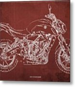2018 Yamaha Mt07 Blueprint  Red Background Fathers Day Gift Metal Print
