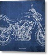 2018 Yamaha Mt07,blueprint,blue Background,fathers Day Gift Metal Print