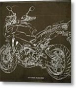 2018 Yamaha Tracer 900gt Blueprint Brown Background Two Wheels Move The Soul Metal Print
