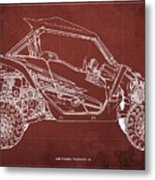 2018 Yamaha Wolverine X4 Blueprint Red Background Gift For Him Metal Print