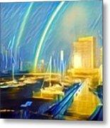 Docklands Double Rainbow Metal Print