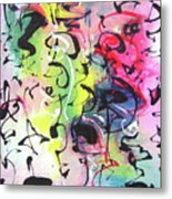 Abstract Calligraphy Metal Print