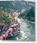Kootenai River Water Falls In Montana Mountains Metal Print