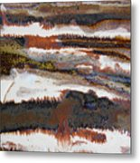 22. V2 Rustic Brown, Red And White Glaze Painting Metal Print